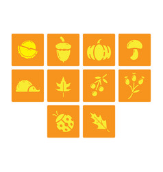 Flat color autumn season icon set vector