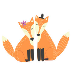Foxes couple isolated element vector