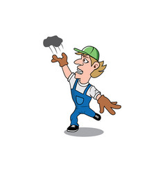 Funny worker tossing trash cartoon design vector