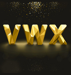 Golden lowpoly font from v to x vector