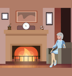 grandmother sits in a chair near the fireplace vector image