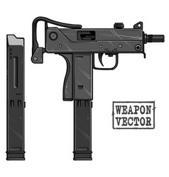 graphic silhouette uzi submachine gun with ammo vector image