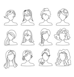 hairstyle silhouette set woman girl female hair vector image