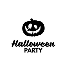 Halloween Party Silhouette Smile Pumpkin Happy vector image