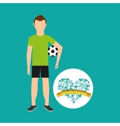 Heart weight loss sport person soccer vector