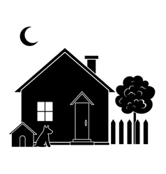 House and tree silhouette vector image