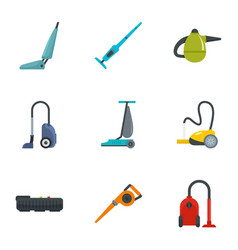 house vacuum cleaner icon set flat style vector image