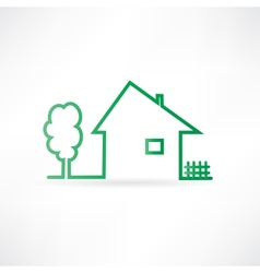 House with a fence and a tree vector