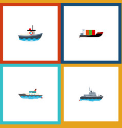icon flat boat set of cargo yacht boat and other vector image