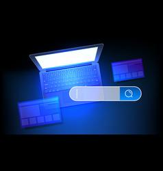 Internet search concept modern laptop vector