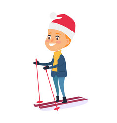Isolated smiling boy skiing on white background vector