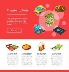 isometric hotel icons page vector image