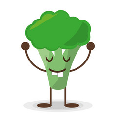 kawaii broccoli food vegetable vector image