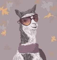 Lama on autumn background vector