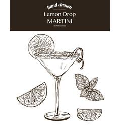lemon drop martini sketch vector image
