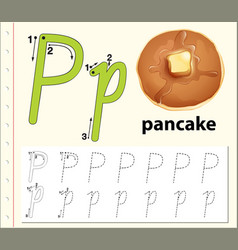 Letter p tracing alphabet worksheets vector