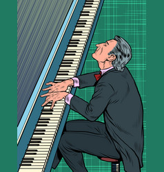 Male musician plays the piano jazz or classical vector