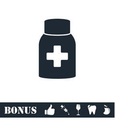 medicine pill bottle icon flat vector image