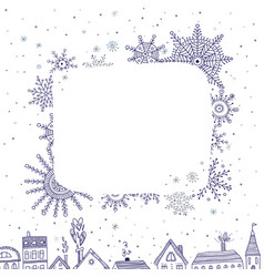 merry christmas frame for text with houses vector image