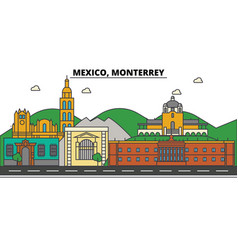 mexico monterrey city skyline architecture vector image