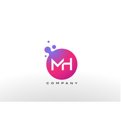 Mh letter dots logo design with creative trendy vector