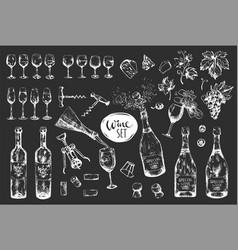 monochrome hand-drawn wine set on dark background vector image