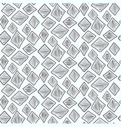 Monochrome pattern with hand drawn scratched rhomb vector