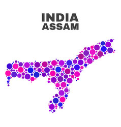 mosaic assam state map of spheric items vector image