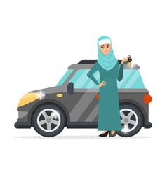 Muslim woman holding car key vector