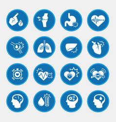 Obesity related diseases icons with blue circle vector