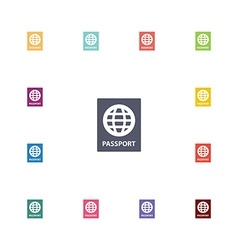 passport flat icons set vector image