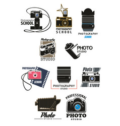 photo studio icon set with camera lens and film vector image