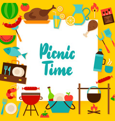 Picnic time paper concept vector