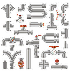 pipeline construction water pipe sections vector image