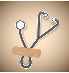 Plaster and stethoscope vector image