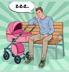 Pop art sleepless father with baby stroller vector