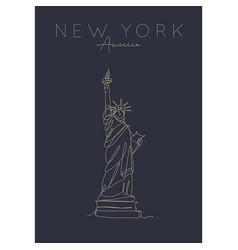 poster new york statue liberty dark vector image