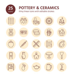 pottery workshop ceramics classes line icons vector image