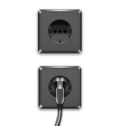 realistic black plastic power socket europe type vector image