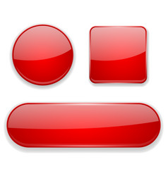 Red glass buttons 3d icons vector