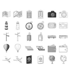 Rest and travel monochromeoutline icons in set vector