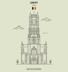 Saint bavo cathedral in ghent vector