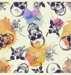 Seamless pattern with skulls and rose flowers vector