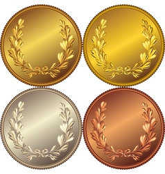 Set gold silver and bronze coins vector