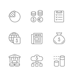 set line icons financial analytics vector image
