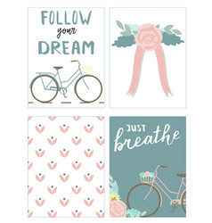 set of cards with bikes and lettering vector image