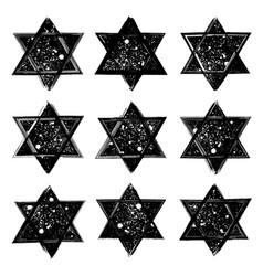 set stars david created in grunge vector image
