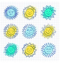 Sketch sun kids drawing hand drawn sunshine icons vector