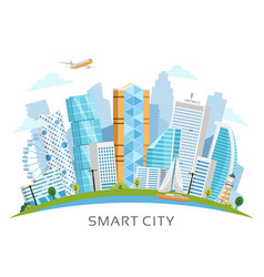 Smart city arch landscape with skyscrapers vector