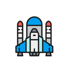 space shuttle rockets airplane flat color vector image